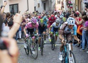 Dutch rider Steven Kruijswijk of Team Lotto Jumbo wearing Maglia Rosa (L), Italian rider Giovanni Visconti of Movistar Team, Russian rider Ilnur Zarkarin of Team Kastusha and Colombian rider Esteban Chaves of Orica GreenEdge during the 18th stage of Giro d'Italia 2016 from Muggi˜ to Pinerolo del Friuli, 26 May 2016. ANSA/CLAUDIO PERI